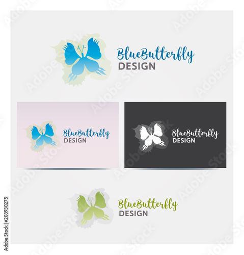 Logo Papillon Bleu Feuillage Icone Carte De Visite Et Charte Graphique Entreprise Plusieurs Couleurs