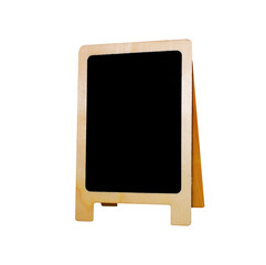 Wooden sign isolated on white. Triple wooden stick.