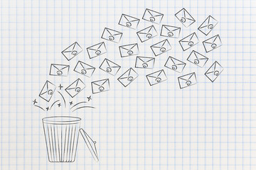 group of emails going in or out of garbage bin