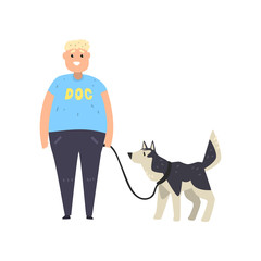 Fat guy walking his husky dog vector Illustration on a white background