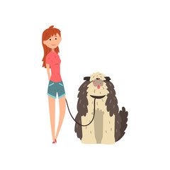 Girl walking her shaggy dog vector Illustration on a white background