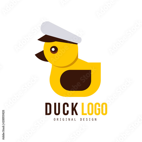 Duck Logo Set Design Elements With Yellow Toy Rubber Duck For Your