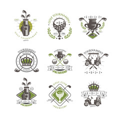 Golf tournament logo set, vintage labels for golf championship, sport club, business card vector Illustration on a white background
