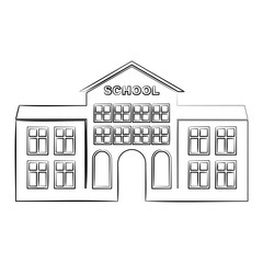 Outline School Building icon. Flat vector cartoon illustration. Objects isolated on a white background.