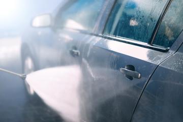 manual car wash with foam.