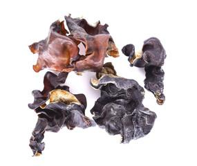 Dried Ear mushroom on white background