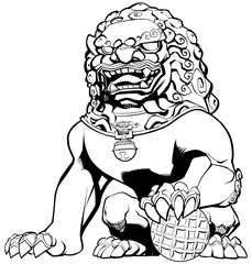 Chinese Lion on White / Hand drawn illustration of Chinese lion in black and white.