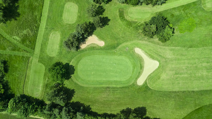 Drone view of a golf course