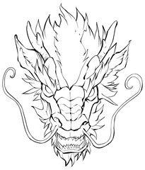 Chinese Dragon Head / Hand drawn illustration of Chinese dragon in black and white.