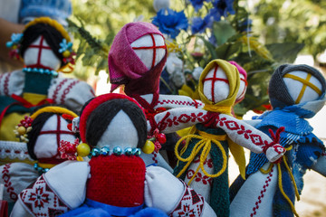 Handmade dolls made of cloth in Ukrainian style