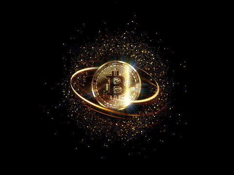 Bitcoin with glowing lights..Gold bitcoin symbol. Coins on black background.