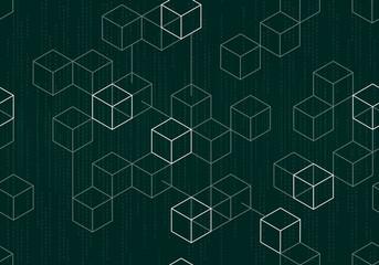 Modern digital blockchain pattern with binary data on dark green background