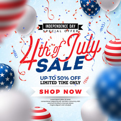 Fourth of July. Independence Day Sale Banner Design with Balloon on Confetti Background. USA National Holiday Vector Illustration with Special Offer Typography Elements for Coupon, Voucher, Banner