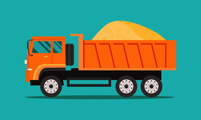 Heavy tipper with sand isolated. Vector flat style illustration