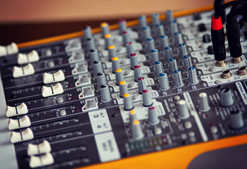 Audio studio sound mixing equalizer equipment board sliders and faders