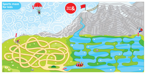 Sports maze for kids. Puzzle for development logic in children. Sports theme maze bike, parachute, rowing and climbing. Use for educational books, board games, wallpapers. Vector illustration.
