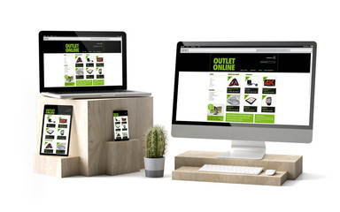 Wall Mural - wooden cubes devices isolated outlet onlineresponsive website