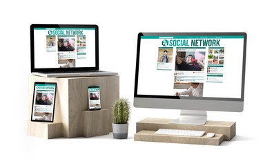 Wall Mural - wooden cubes devices isolated social network responsive website