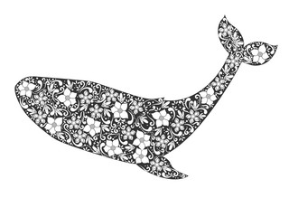 Silhouette of whale with floral ornament. Vector illustration