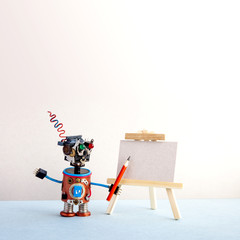 Kindly robot artist begins to create a drawing with a pencil. White paper template, wooden easel. Advertising poster studio school of visual arts. copy space.