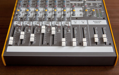 Audio studio sound mixer equalizer board faders sliders
