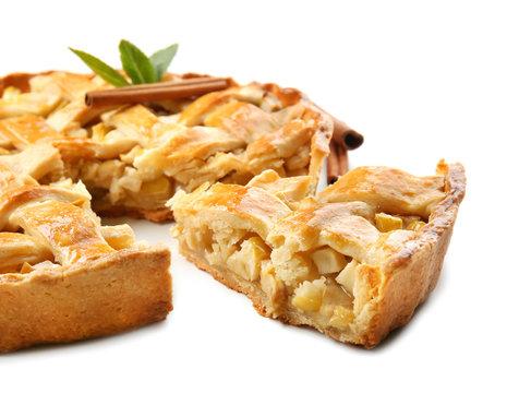 Tasty homemade apple pie on white background, closeup