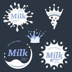 Milk labels vector set. Splash and blot design, milk product logo