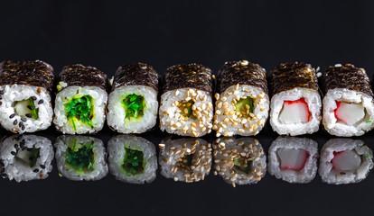 Sushi on a black background 12