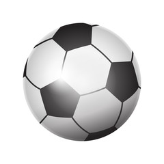 Soccer ball icon 3d realistic isolated on white background, logo football sports element world competition award, cup, champion, sticker, banner, vector