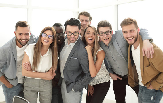 group of successful business people standing in the office