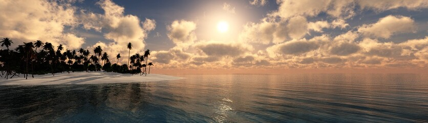 panorama of the beach with palm trees at sunset, sea sunrise,