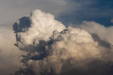 Cumulonimbus in dramatic sunset and mountain silhouette in central america, Guatemala.