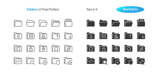 Folders UI Pixel Perfect Well-crafted Vector Thin Line And Solid Icons 30 2x Grid for Web Graphics and Apps. Simple Minimal Pictogram Part 4-4