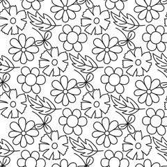 Hand sketched leaves and flowers seamless pattern. Vector illustration