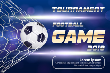 Soccer or Football Banner With 3d Ball on blue background. Soccer game match goal moment with ball in the net and place for text