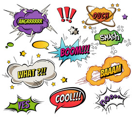 Comic speech bubbles and splashes set with different emotions and text Vector bright dynamic cartoon illustrations isolated on white background