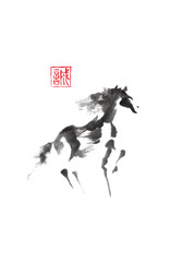 Dancing horse Japanese style original sumi-e ink painting.