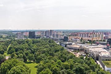 Bratislava, Slovakia - May 24, 2018: The Bratislava panorama photographed from the air.