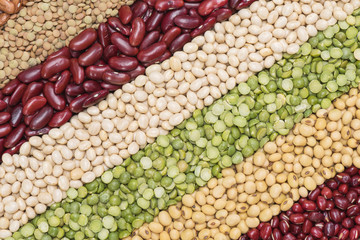 Multicolor dried legumes for diagonal background, Different dry bean for eating healthy