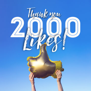 Thank you 2000 likes gold thumbs up like balloons social media template banner