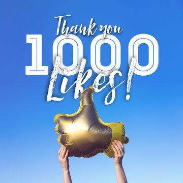 Thank you 1000 likes gold thumbs up like balloons social media template banner