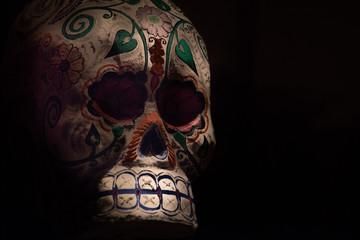 ancient old maya skull in mexico
