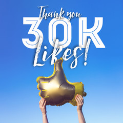Thank you 30 thousand likes gold thumbs up like balloons social media template banner