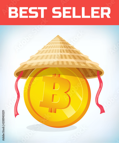 Bitcoin In Chinese Straw Hat Bitcoin Digital Currency Crypto