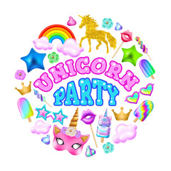 Poster unicorn party, rainbow, ice cream, hoop, mask, crown, sunglasses and other elements on a white background. Realistic vector illustration.