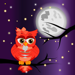 Good night card with a sleeping owls and a clouds. Vector illustration