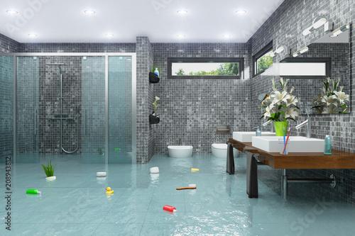 Überschwemmtes modernes Badezimmer - Bad - Dusche - Wasserschaden ...