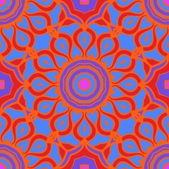 Vector illustration. Modern floral geometric pattern. Seamless design for scrapbooking, background, interior