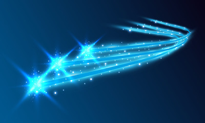 Burning fire on a transparent background. Neon blue and yellow star, glittering shine and bokeh lights. Glowing light particles with a flash effect.