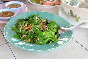 Stir fried local vegetables (Melinjo leaves) with shrimp, Phang nga, Thailand